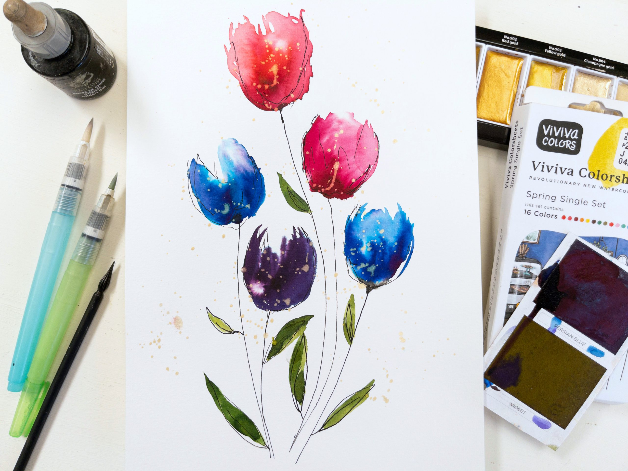 watercolor painting of flowers with Viviva colorsheets and Kuretake waterbrushes in bright colors including Kuretake Starry Colors